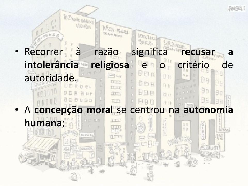 Recorrer à razão significa recusar a intolerância religiosa e o critério de autoridade.