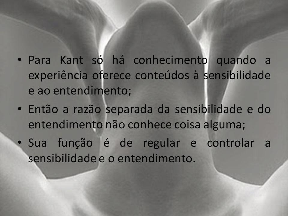 Para Kant só há conhecimento quando a experiência oferece conteúdos à sensibilidade e ao entendimento;