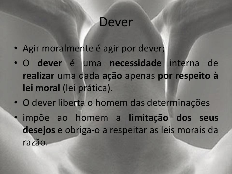 Dever Agir moralmente é agir por dever;