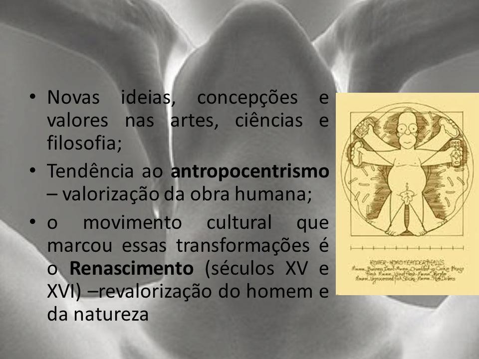 Novas ideias, concepções e valores nas artes, ciências e filosofia;