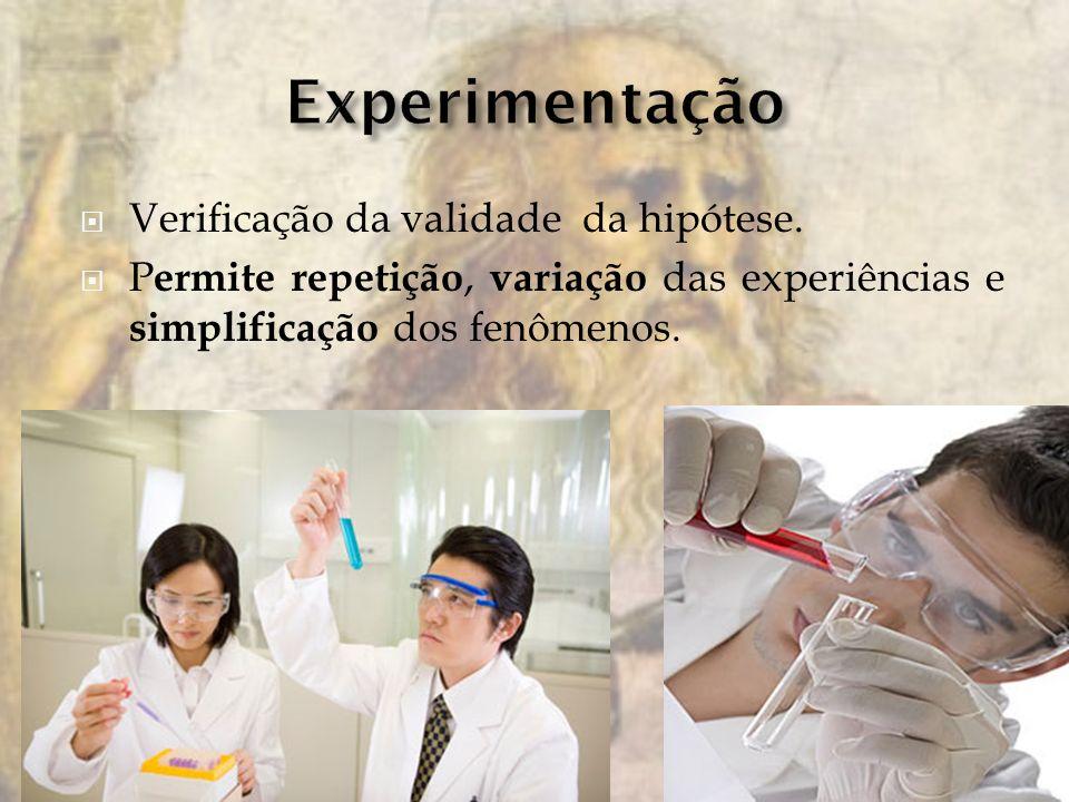 Experimentação Verificação da validade da hipótese.