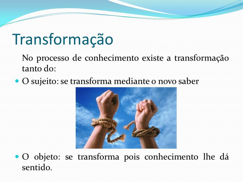 Transformação No processo de conhecimento existe a transformação tanto do: O sujeito: se transforma mediante o novo saber.