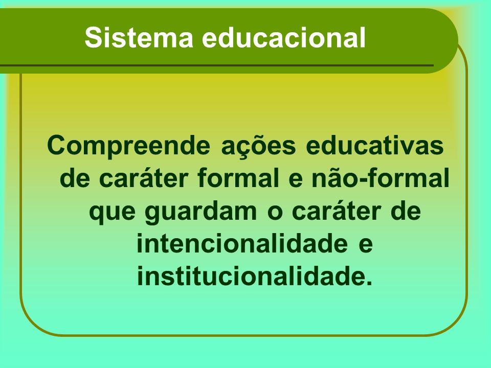 Sistema educacional Compreende ações educativas de caráter formal e não-formal que guardam o caráter de intencionalidade e institucionalidade.