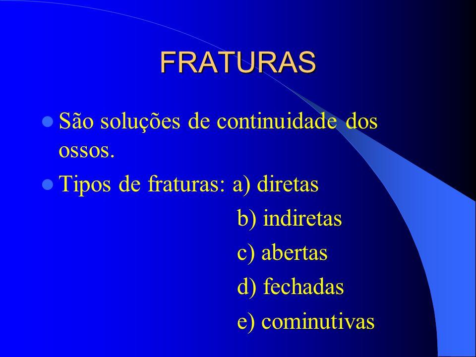 FRATURAS São soluções de continuidade dos ossos.