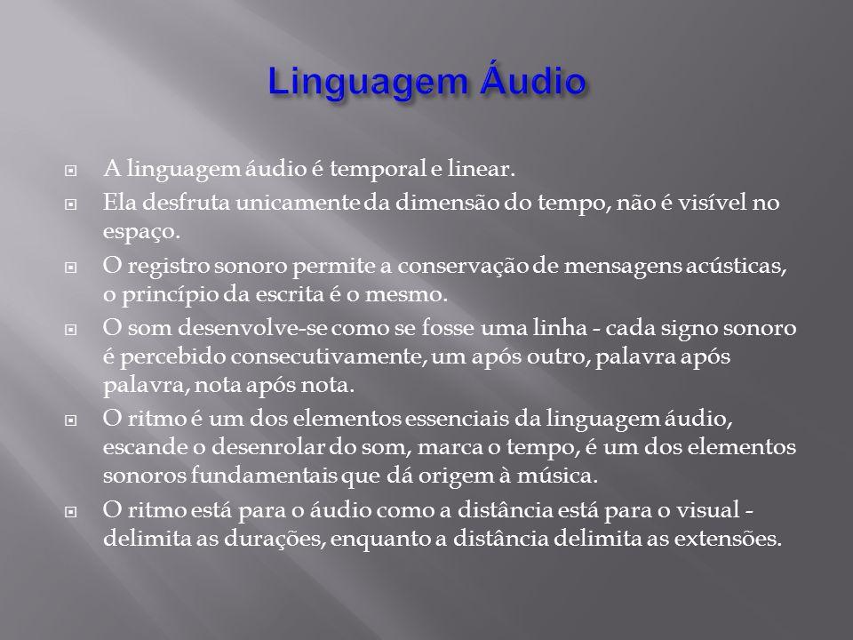 Linguagem Áudio A linguagem áudio é temporal e linear.