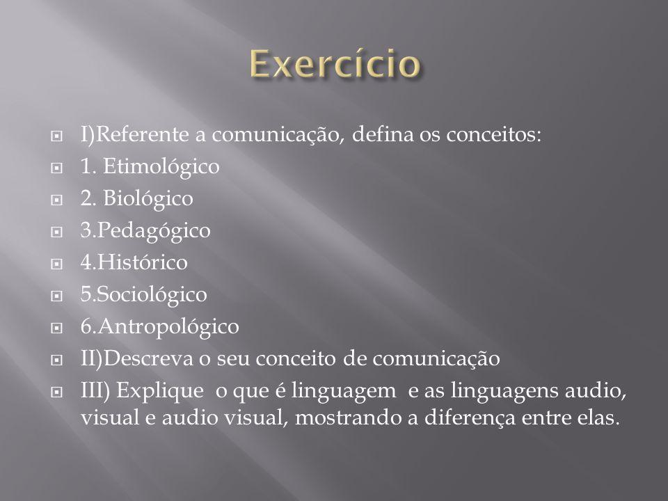 Exercício I)Referente a comunicação, defina os conceitos: