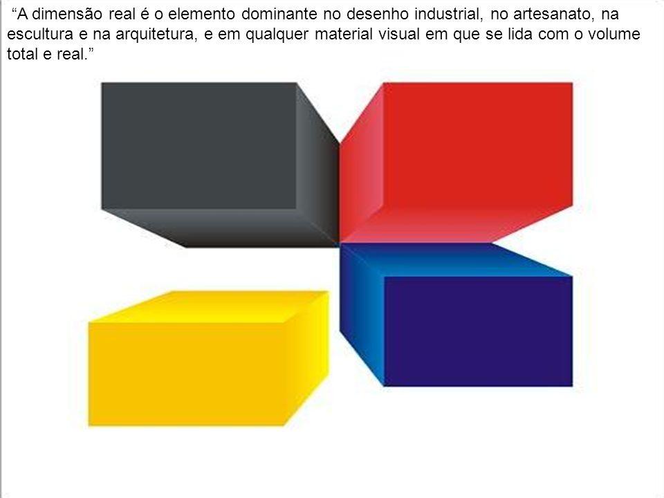 A dimensão real é o elemento dominante no desenho industrial, no artesanato, na escultura e na arquitetura, e em qualquer material visual em que se lida com o volume total e real.