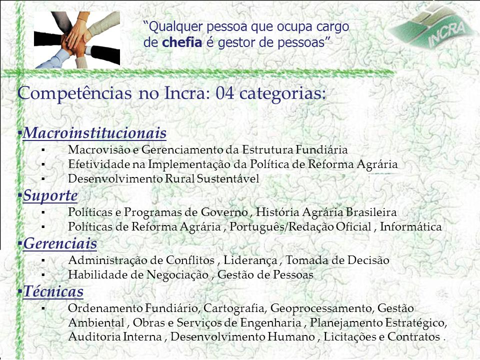 Competências no Incra: 04 categorias: