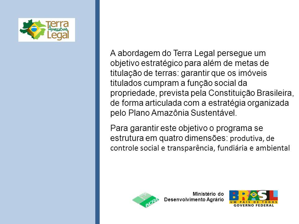 A abordagem do Terra Legal persegue um objetivo estratégico para além de metas de titulação de terras: garantir que os imóveis titulados cumpram a função social da propriedade, prevista pela Constituição Brasileira, de forma articulada com a estratégia organizada pelo Plano Amazônia Sustentável.