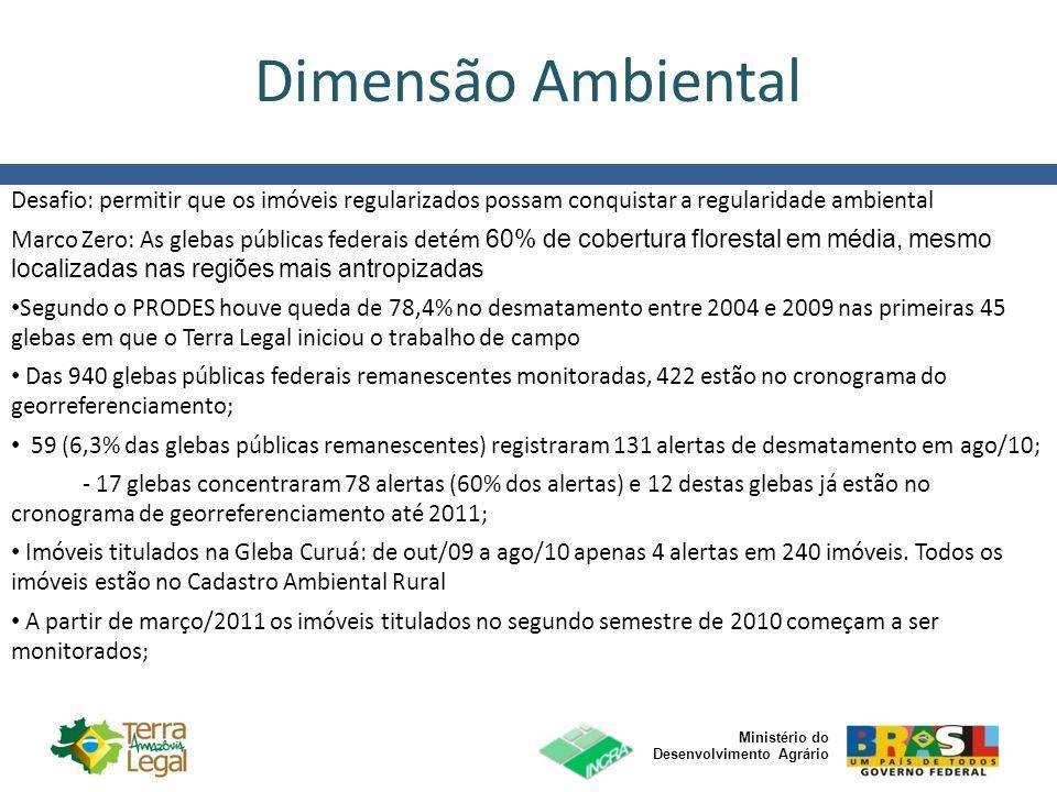 Dimensão Ambiental Desafio: permitir que os imóveis regularizados possam conquistar a regularidade ambiental.