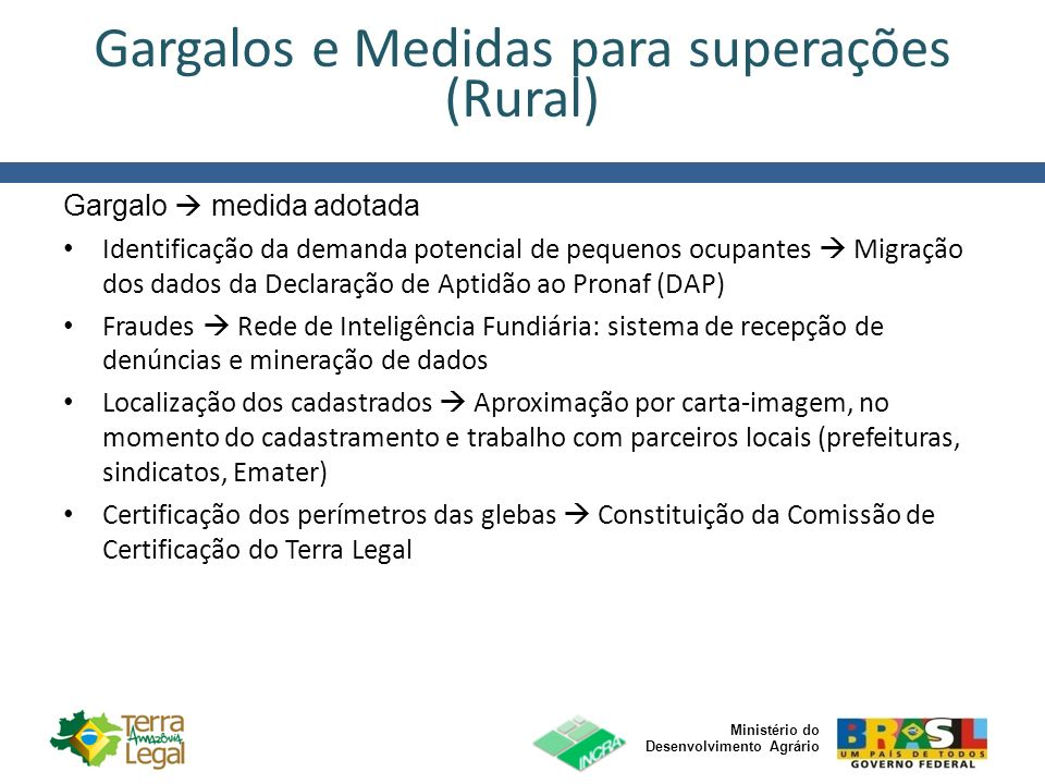 Gargalos e Medidas para superações (Rural)