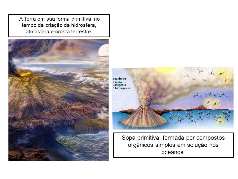 A Terra em sua forma primitiva, no tempo da criação da hidrosfera, atmosfera e crosta terrestre.