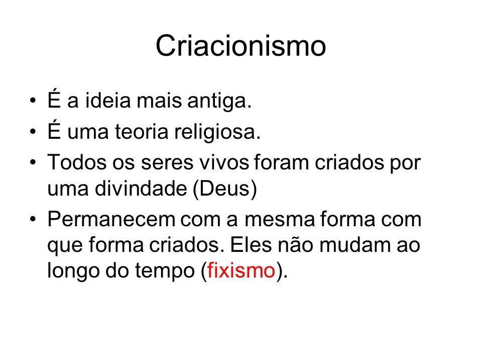 Criacionismo É a ideia mais antiga. É uma teoria religiosa.