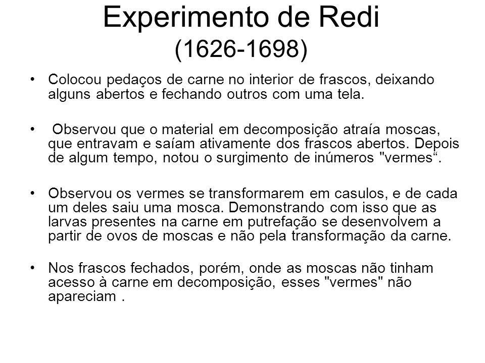 Experimento de Redi (1626-1698)