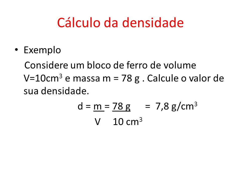 Cálculo da densidade Exemplo