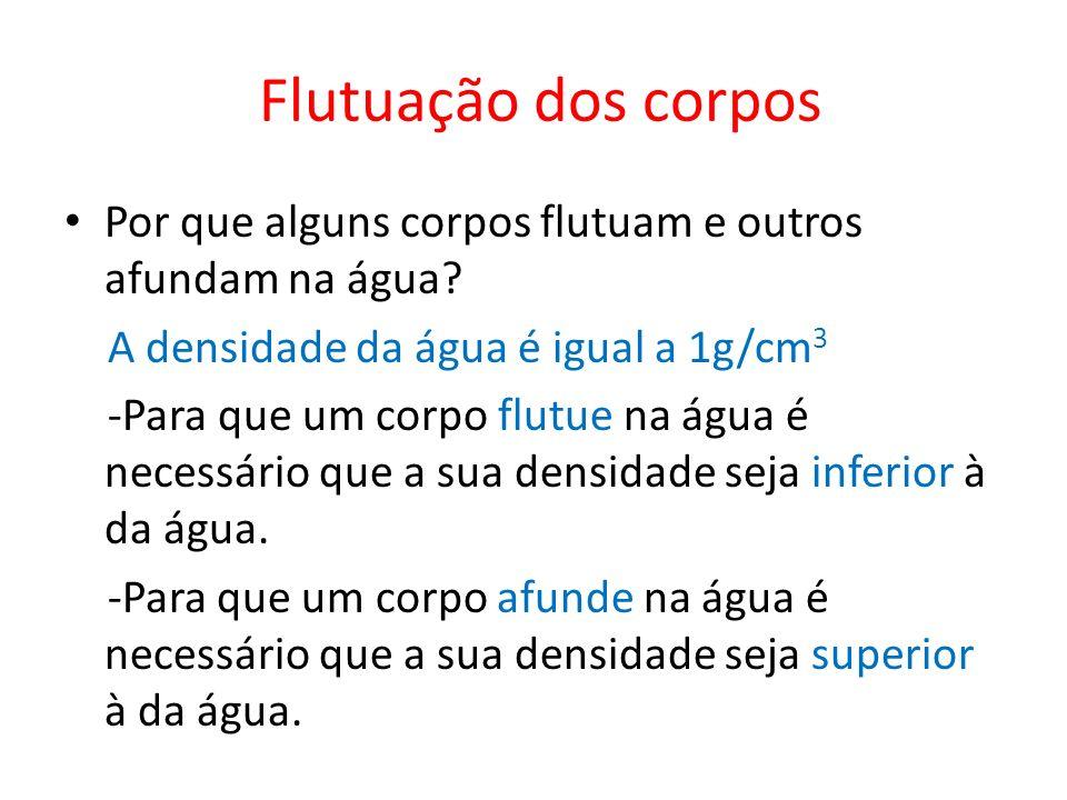Flutuação dos corpos Por que alguns corpos flutuam e outros afundam na água A densidade da água é igual a 1g/cm3.