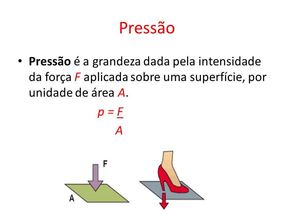 Pressão Pressão é a grandeza dada pela intensidade da força F aplicada sobre uma superfície, por unidade de área A.