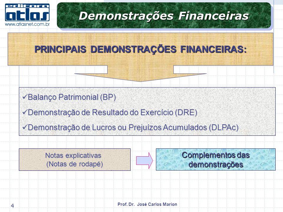 Demonstrações Financeiras PRINCIPAIS DEMONSTRAÇÕES FINANCEIRAS: