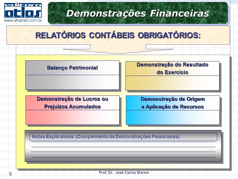 Demonstrações Financeiras RELATÓRIOS CONTÁBEIS OBRIGATÓRIOS: