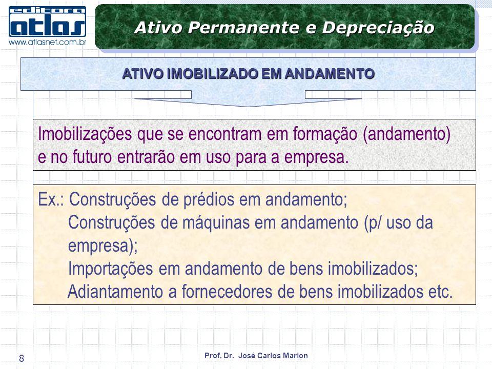 Ativo Permanente e Depreciação ATIVO IMOBILIZADO EM ANDAMENTO