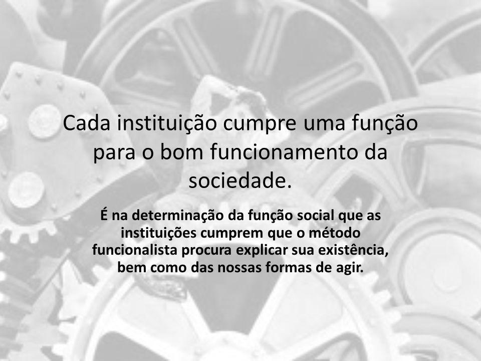 Cada instituição cumpre uma função para o bom funcionamento da sociedade.