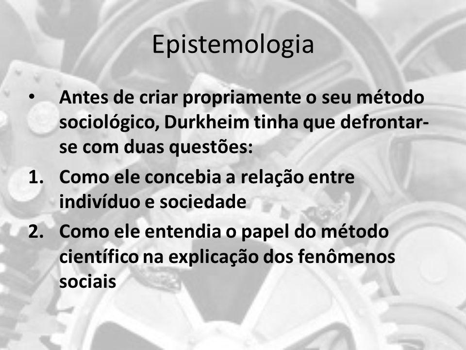 Epistemologia Antes de criar propriamente o seu método sociológico, Durkheim tinha que defrontar-se com duas questões:
