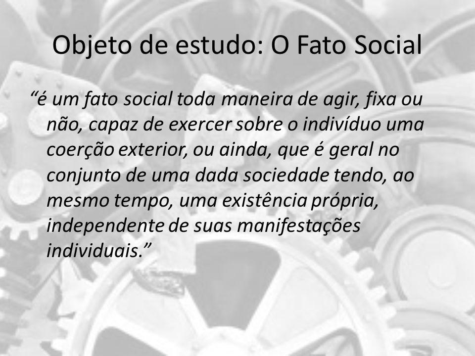 Objeto de estudo: O Fato Social