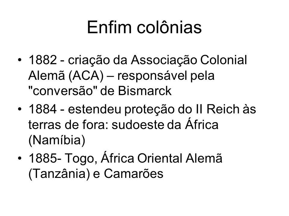 Enfim colônias 1882 - criação da Associação Colonial Alemã (ACA) – responsável pela conversão de Bismarck.