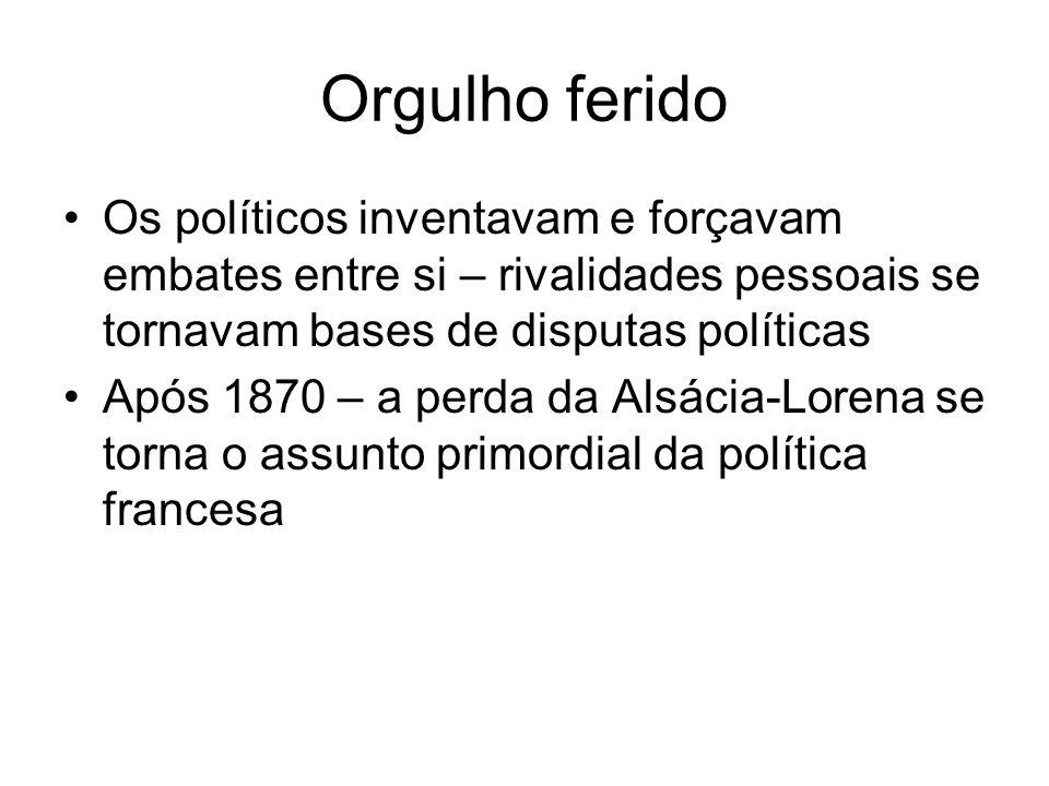 Orgulho ferido Os políticos inventavam e forçavam embates entre si – rivalidades pessoais se tornavam bases de disputas políticas.