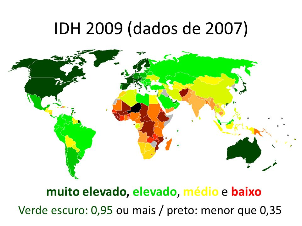 IDH 2009 (dados de 2007) muito elevado, elevado, médio e baixo