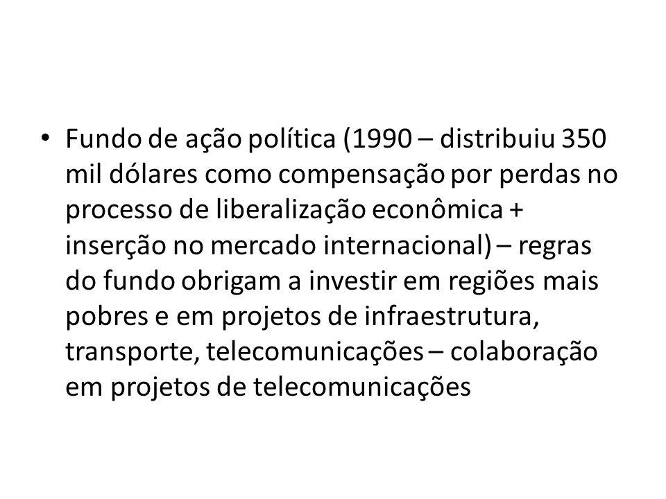 Fundo de ação política (1990 – distribuiu 350 mil dólares como compensação por perdas no processo de liberalização econômica + inserção no mercado internacional) – regras do fundo obrigam a investir em regiões mais pobres e em projetos de infraestrutura, transporte, telecomunicações – colaboração em projetos de telecomunicações