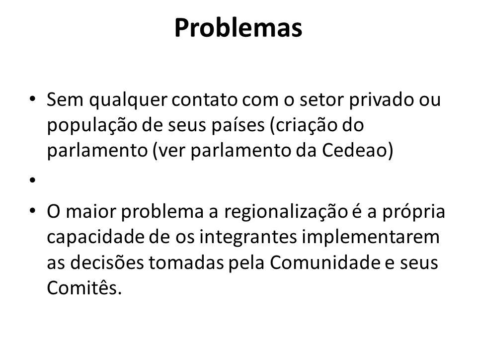 Problemas Sem qualquer contato com o setor privado ou população de seus países (criação do parlamento (ver parlamento da Cedeao)