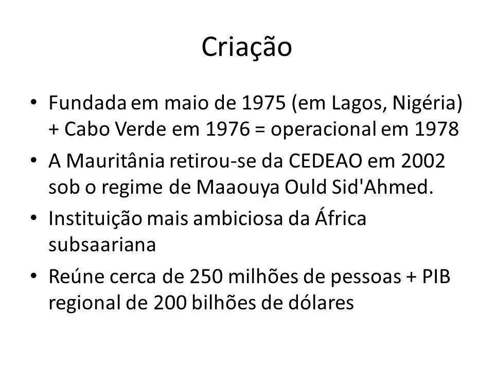 Criação Fundada em maio de 1975 (em Lagos, Nigéria) + Cabo Verde em 1976 = operacional em 1978.