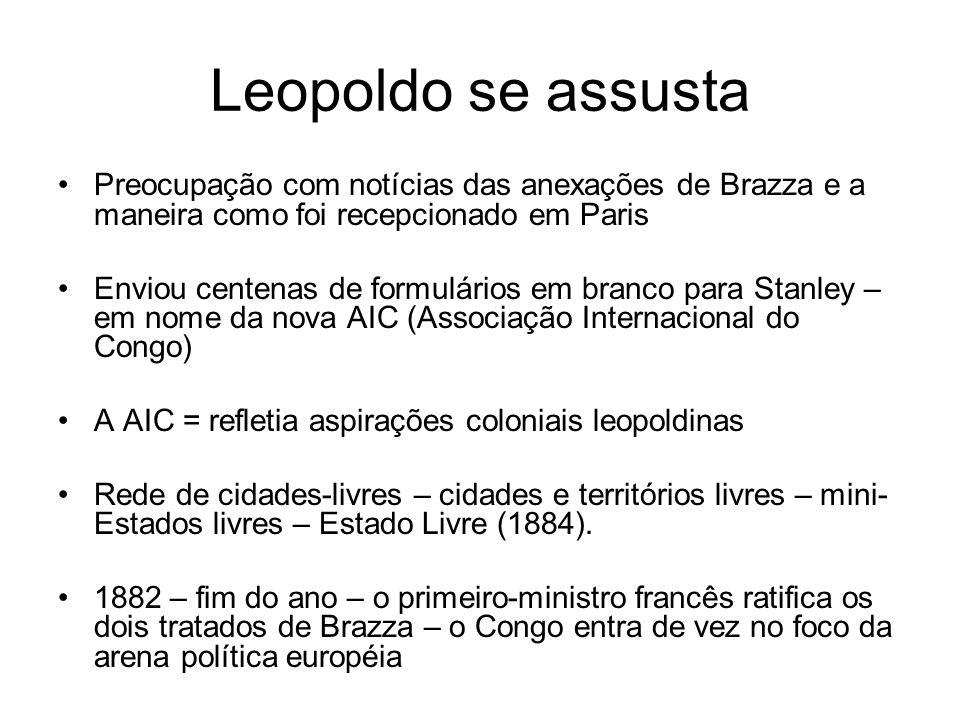 Leopoldo se assusta Preocupação com notícias das anexações de Brazza e a maneira como foi recepcionado em Paris.