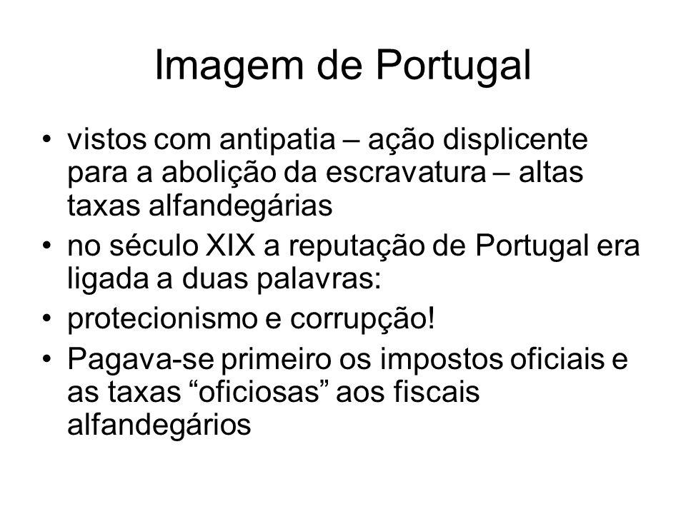 Imagem de Portugal vistos com antipatia – ação displicente para a abolição da escravatura – altas taxas alfandegárias.