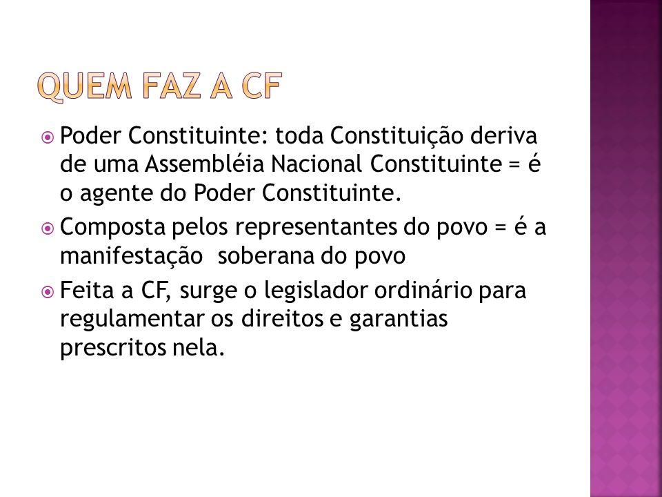 Quem faz a CF Poder Constituinte: toda Constituição deriva de uma Assembléia Nacional Constituinte = é o agente do Poder Constituinte.