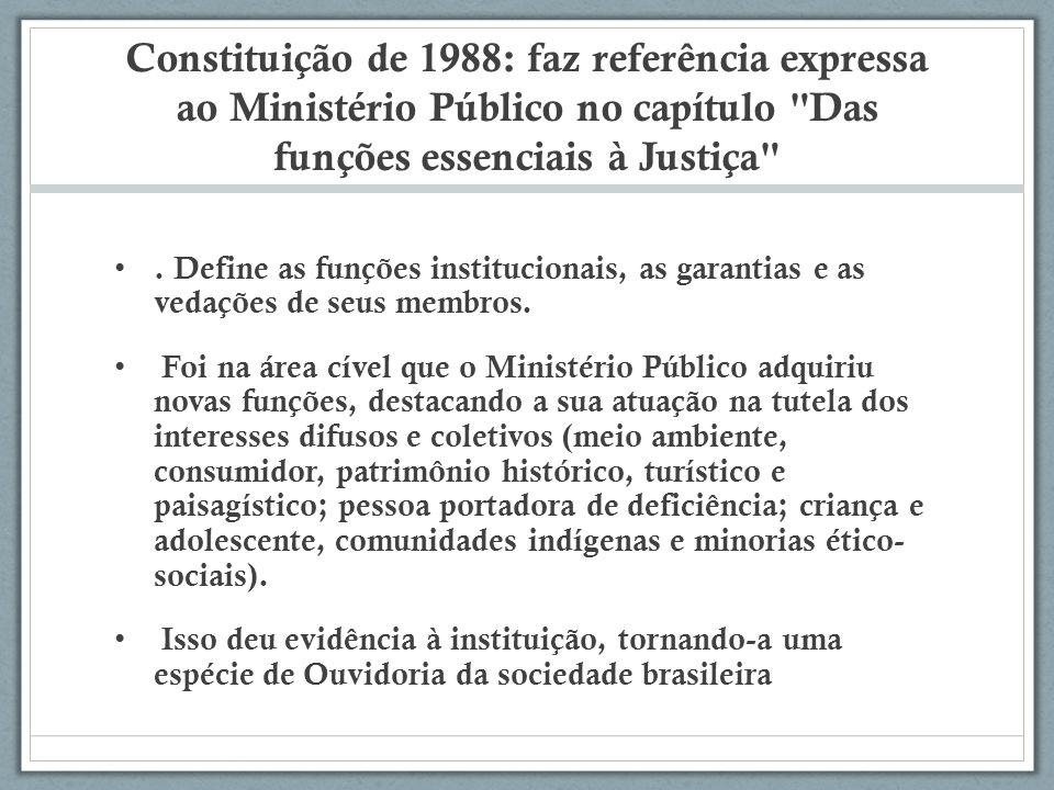 Constituição de 1988: faz referência expressa ao Ministério Público no capítulo Das funções essenciais à Justiça