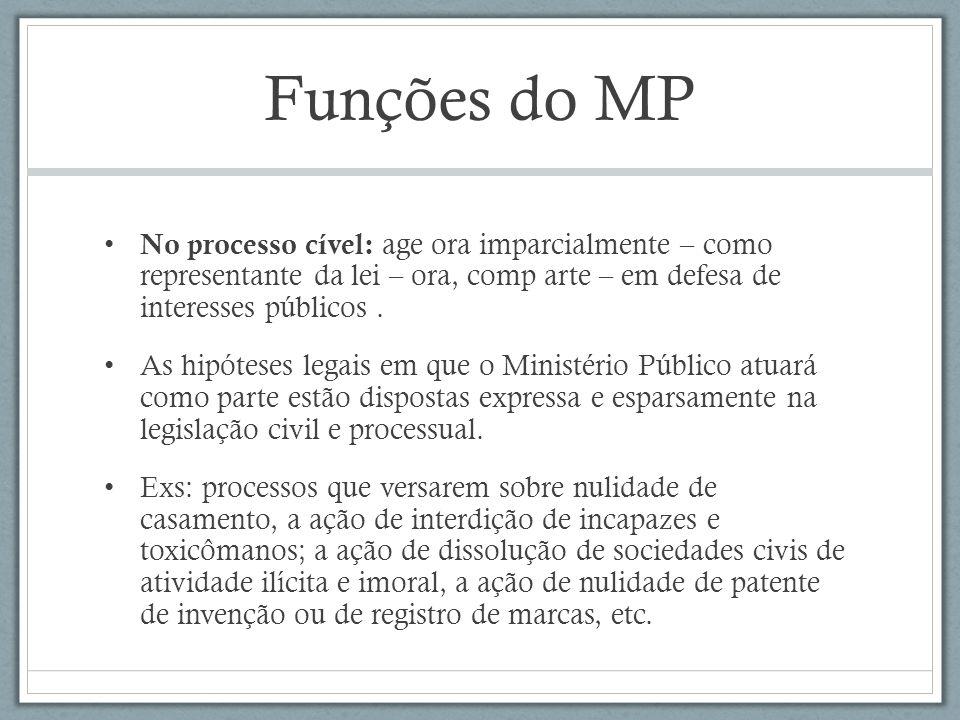 Funções do MP No processo cível: age ora imparcialmente – como representante da lei – ora, comp arte – em defesa de interesses públicos .