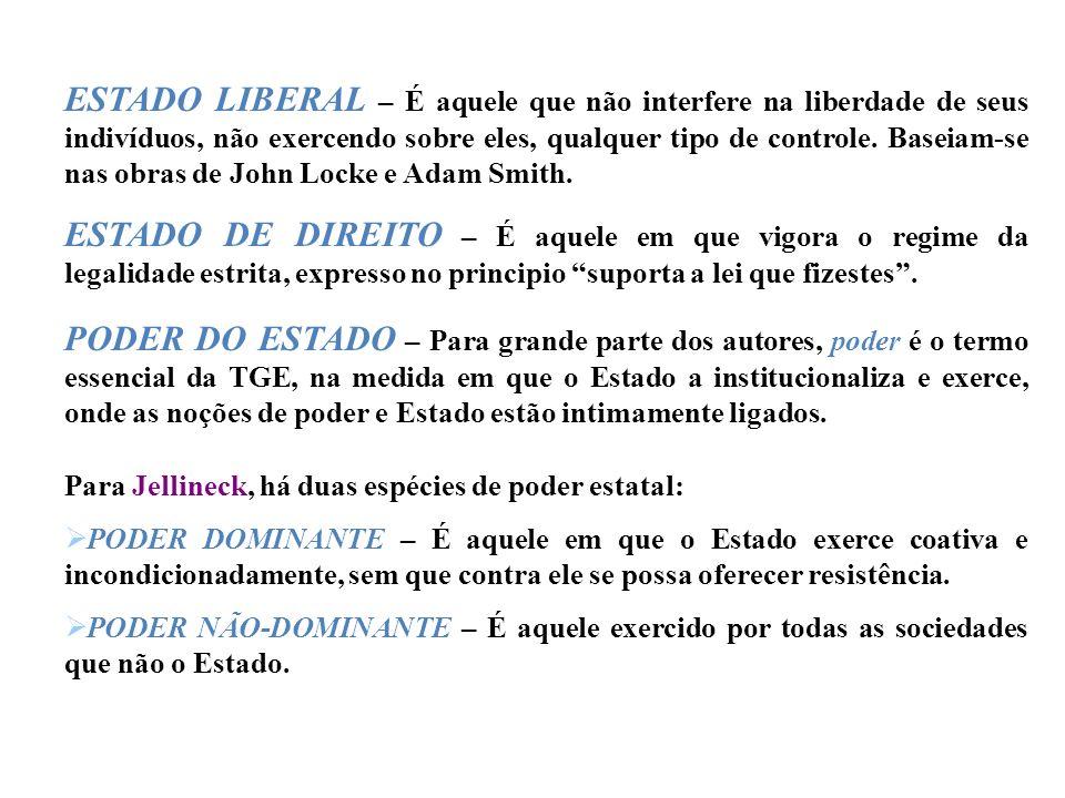 ESTADO LIBERAL – É aquele que não interfere na liberdade de seus indivíduos, não exercendo sobre eles, qualquer tipo de controle. Baseiam-se nas obras de John Locke e Adam Smith.