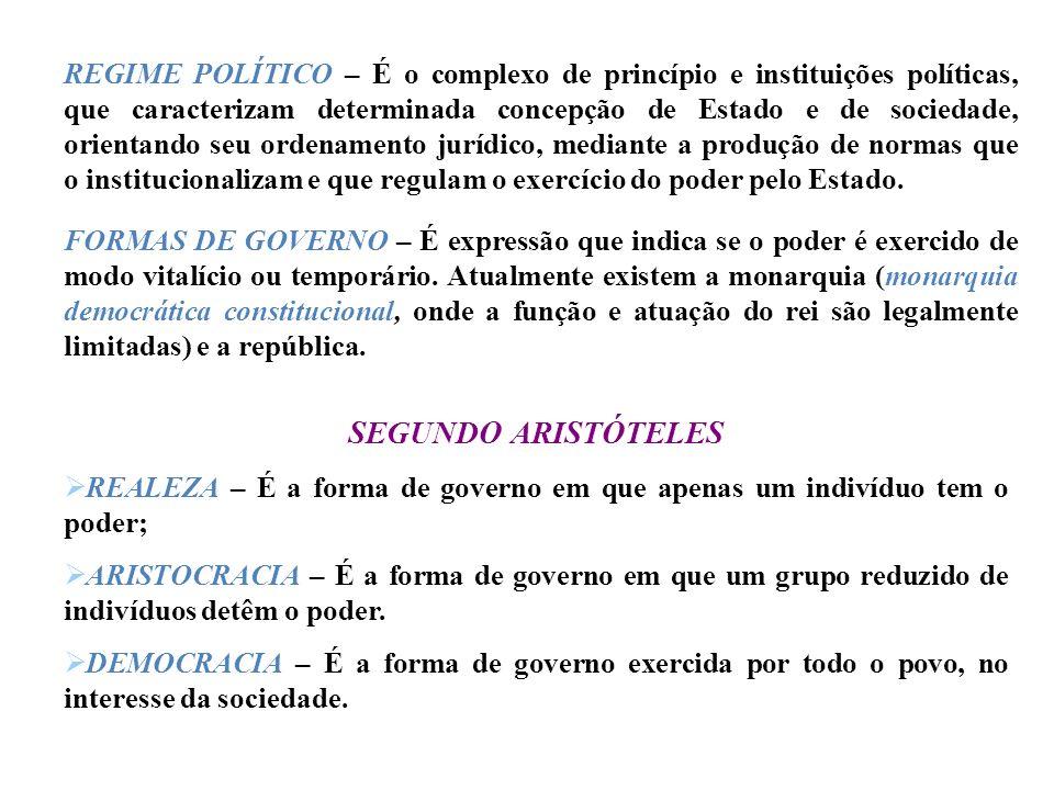 REGIME POLÍTICO – É o complexo de princípio e instituições políticas, que caracterizam determinada concepção de Estado e de sociedade, orientando seu ordenamento jurídico, mediante a produção de normas que o institucionalizam e que regulam o exercício do poder pelo Estado.