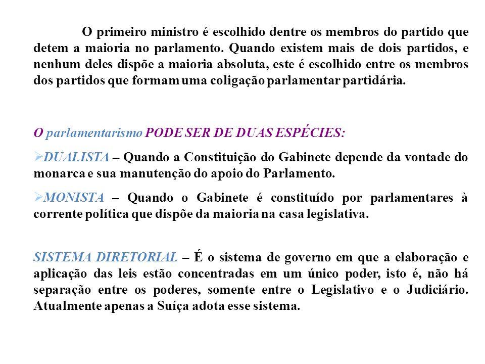 O primeiro ministro é escolhido dentre os membros do partido que detem a maioria no parlamento. Quando existem mais de dois partidos, e nenhum deles dispõe a maioria absoluta, este é escolhido entre os membros dos partidos que formam uma coligação parlamentar partidária.