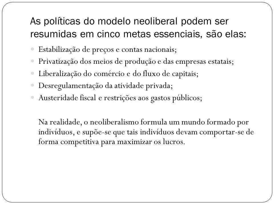 As políticas do modelo neoliberal podem ser resumidas em cinco metas essenciais, são elas: