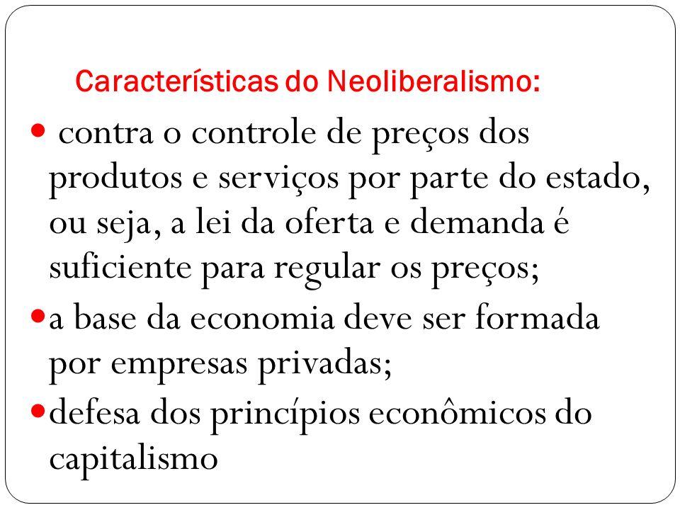 Características do Neoliberalismo: