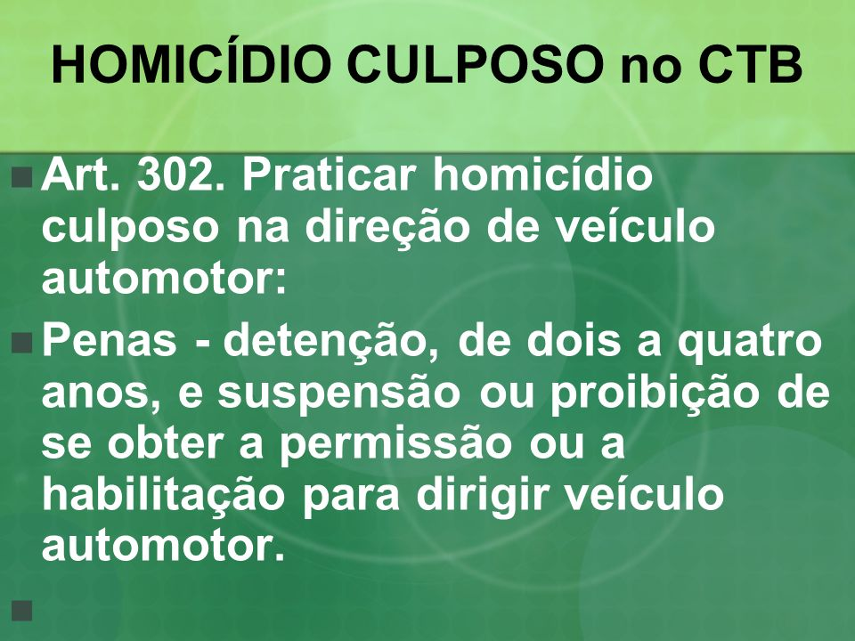 HOMICÍDIO CULPOSO no CTB