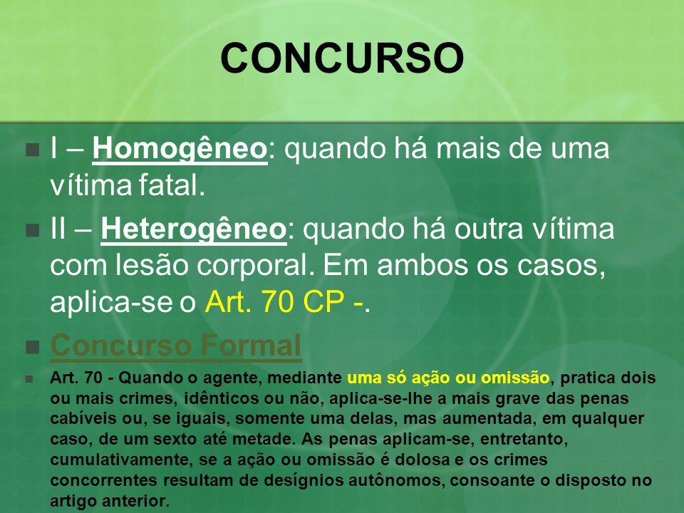 CONCURSO I – Homogêneo: quando há mais de uma vítima fatal.