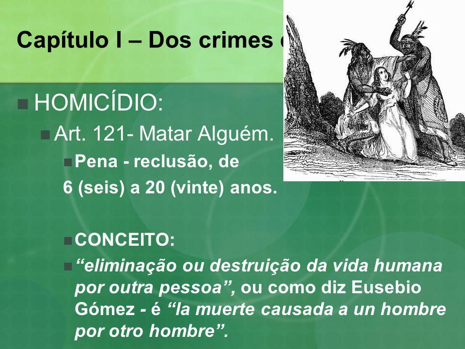 Capítulo I – Dos crimes contra a vida.
