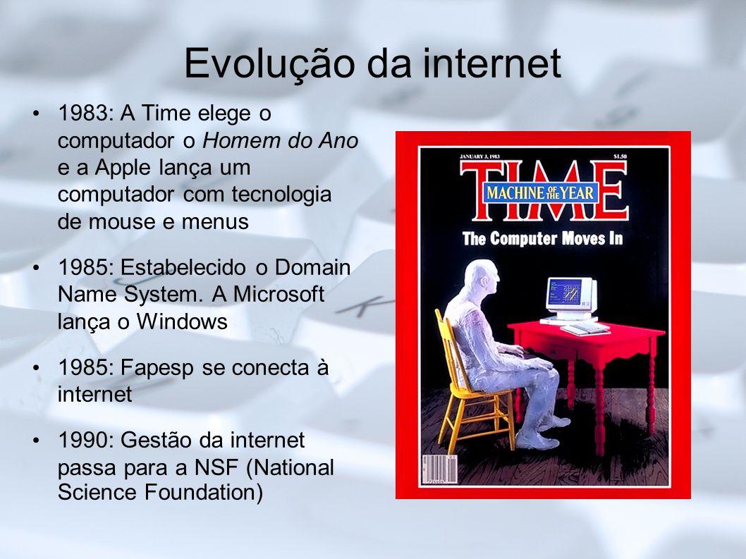 Evolução da internet1983: A Time elege o computador o Homem do Ano e a Apple lança um computador com tecnologia de mouse e menus.