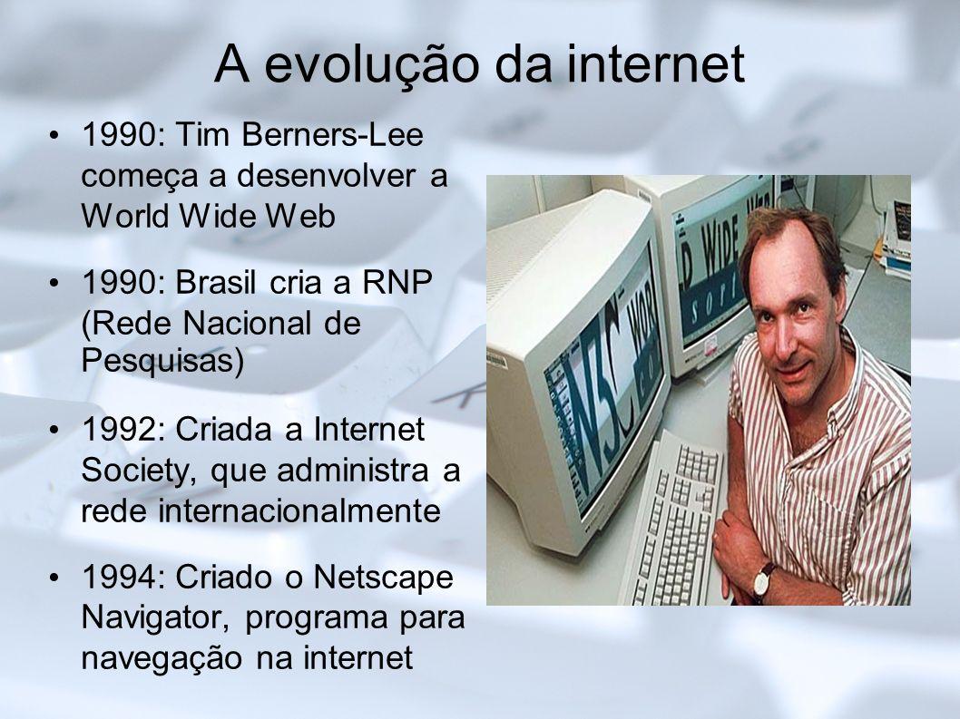 A evolução da internet 1990: Tim Berners-Lee começa a desenvolver a World Wide Web. 1990: Brasil cria a RNP (Rede Nacional de Pesquisas)