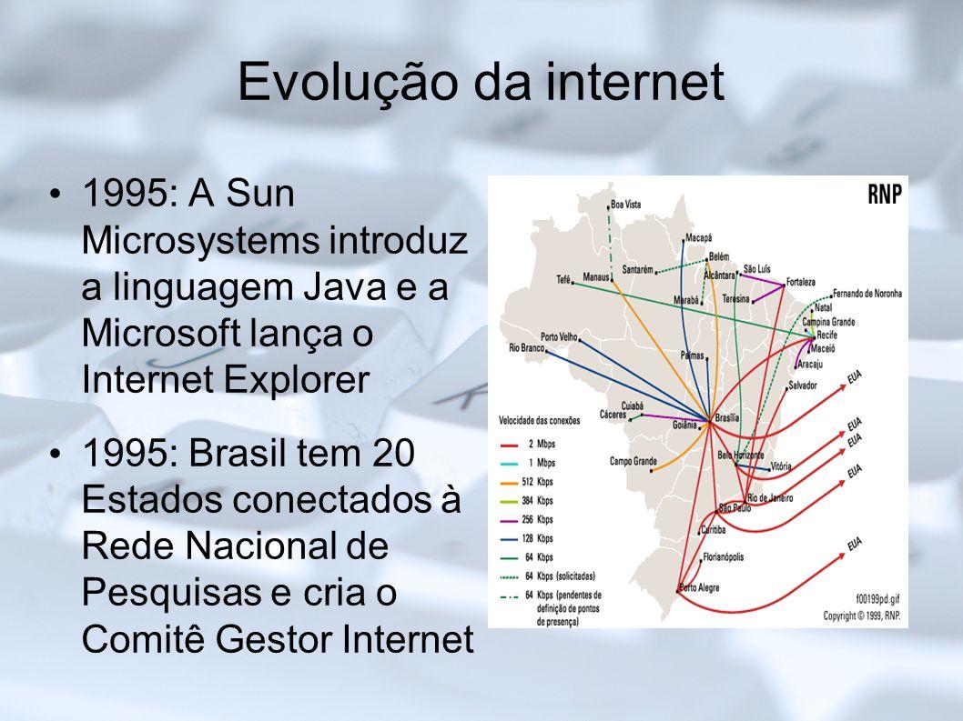 Evolução da internet 1995: A Sun Microsystems introduz a linguagem Java e a Microsoft lança o Internet Explorer.