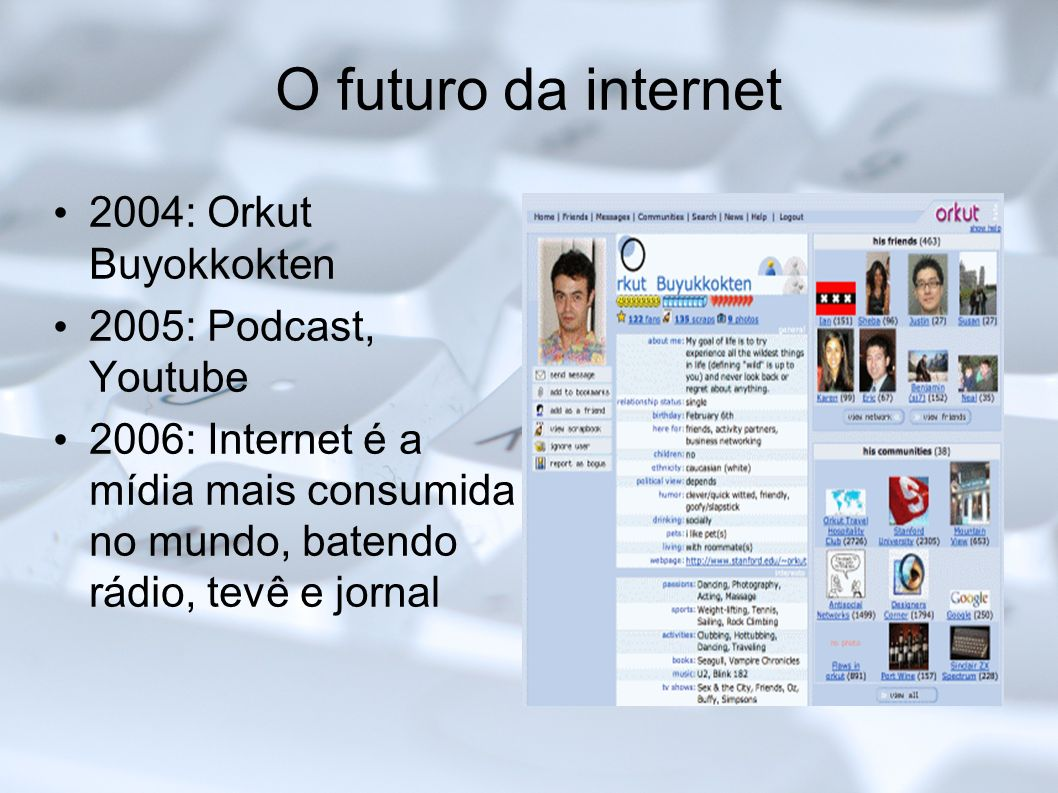 O futuro da internet 2004: Orkut Buyokkokten 2005: Podcast, Youtube